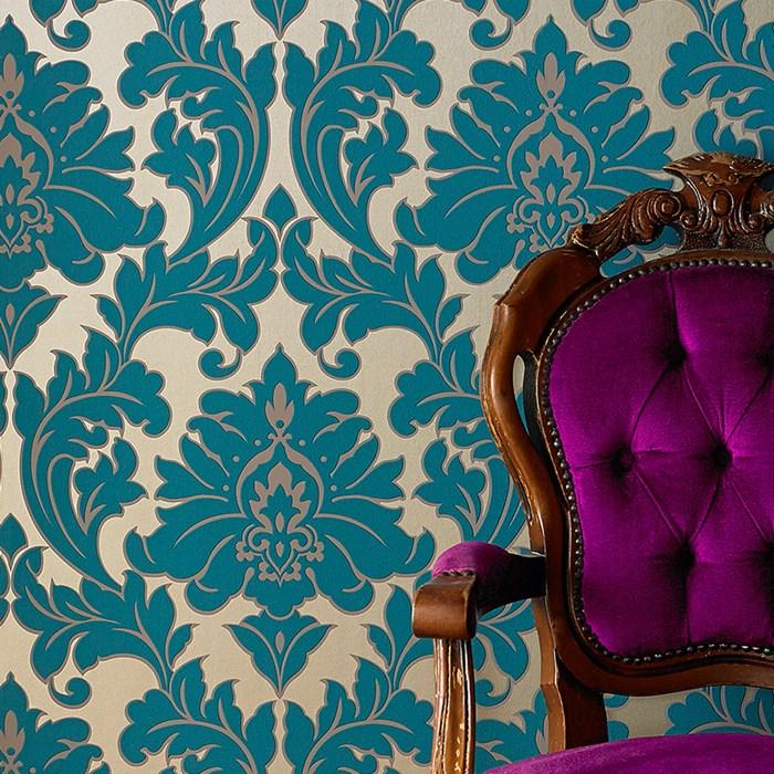 Tapeten Mit Metallic Effekt : Ornament metallic effekt t?rkis gold 30-435 – majestic Tapeten