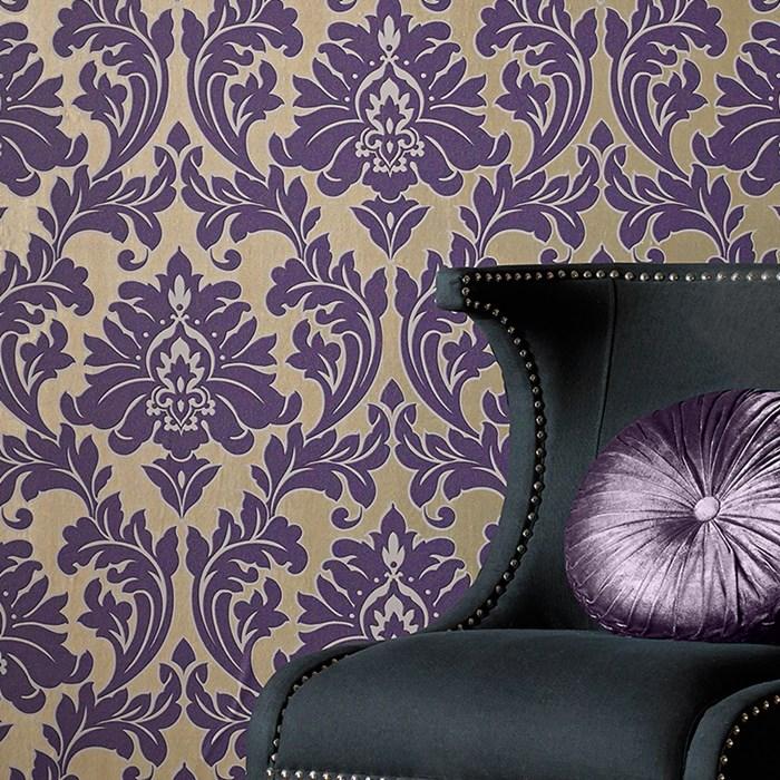 Tapeten Mit Metallic Effekt : Barock Ornament metallic effekt lila gold 30-434 – majestic Tapeten