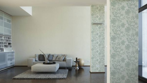 Großrolle Vliestapete Uni creme / Floral Muster mint grün