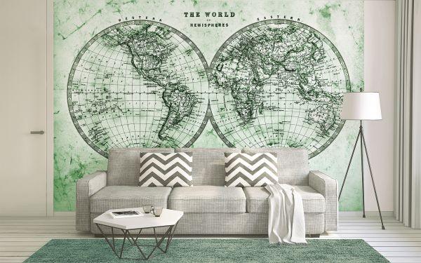 Fototapete Digitaldruck antike Weltkarte Hemisphäre grün 255 x 350 cm