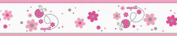 Esprit Kids Bordüre Blumen Marienkäfer weiß pink