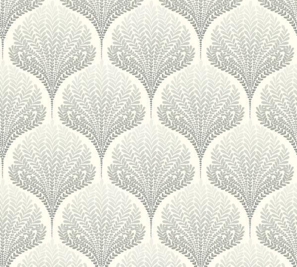 Vliestapete Retro Floral Blätter cremegrau weiß