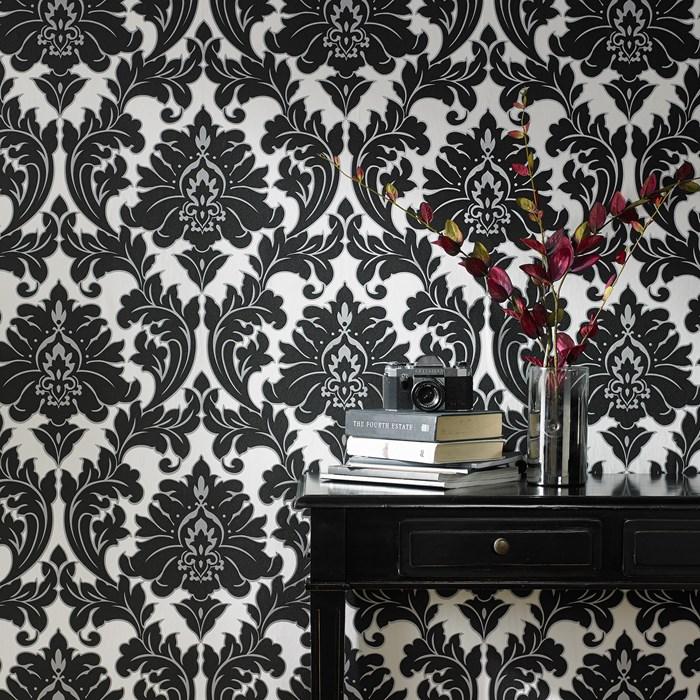 Vliestapete Barock Ornament schwarz weiß silber 30-433 majestic ...