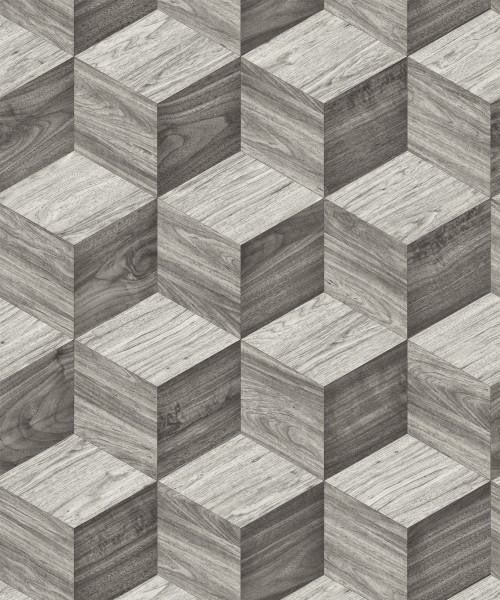 Vliestapete 3D Effekt Illusion Holzwürfel anthrazit grau