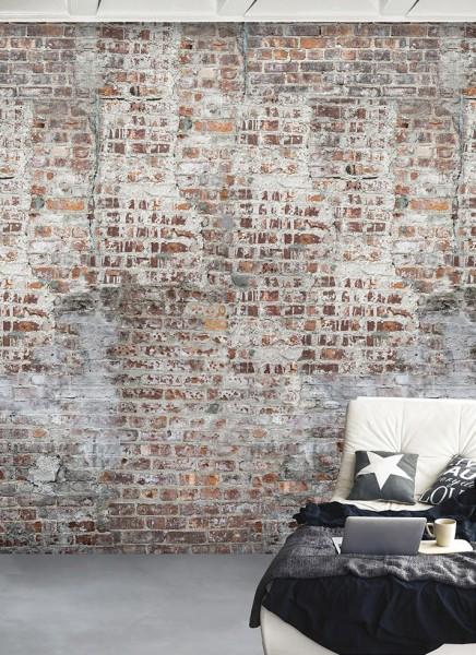 Vlies Foto Tapete Wandbild Steinwand Ziegelstein Bruchstein terra 200x300 cm