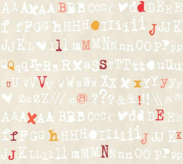 Buchstaben Schrift Vliestapete beige bunt