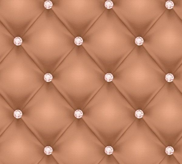 Vliestapete Leder Optik Diamant cognac