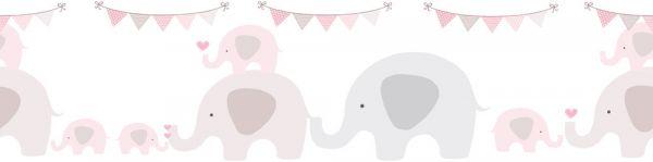 Selbstklebende Bordüre Elefanten Party grau rosa 5,00m x 0,155m