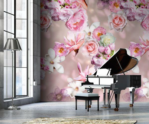 Vlies Foto Tapete floral Blumen rose flieder Rosen Magnolie 200x280cm