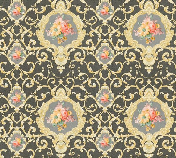 Vliestapete Ranken Blumen schwarz gold glanz Chateau 5