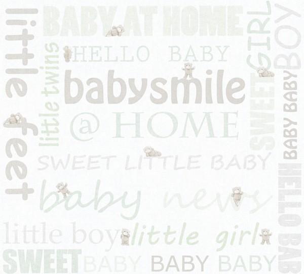 Kinder Tapete Schriftzug Baby Smile Home Teddy weiß mint