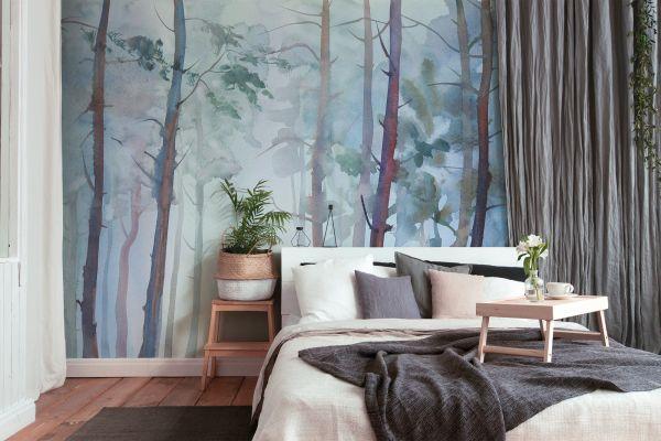 Fototapete Digitaldruck Aqurellmalerei Wald 255 x 350 cm