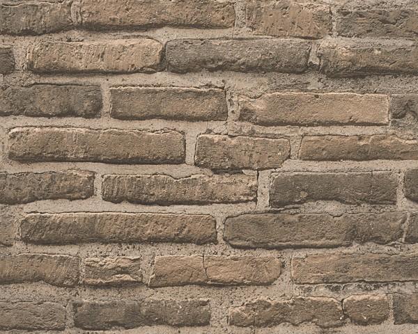 Vliestapete Ziegelstein Mauer Optik braun beige