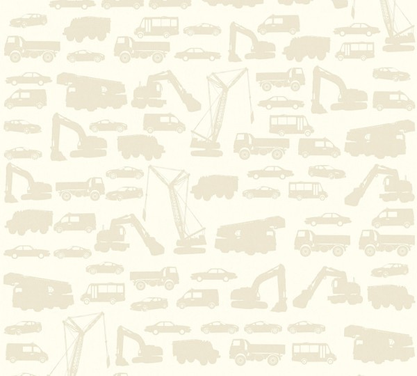 Kinder Vliestapete Bagger LKW Autos creme beige