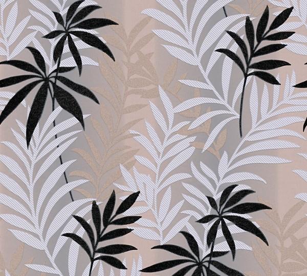 Blatt Blumen Jungle Tapete braun grau metallic