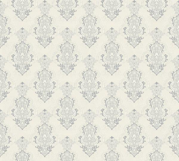 Vliestapete Barock Ornament weiß grau metallic Großrolle