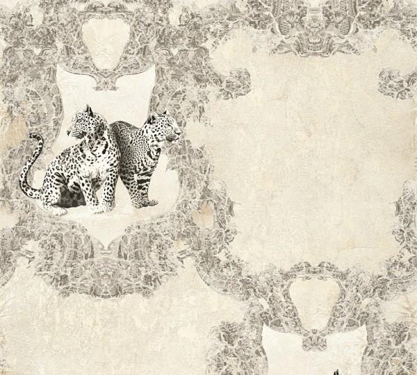 Vliestapete Leoparden creme silber Glanz