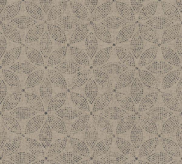 Vliestapete grafisches Kreismuster beige braun