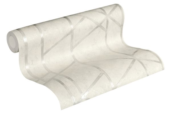 Geometrisches Fugen Muster Vliestapete weiß silber