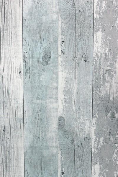 Vliestapete Antik Holz verwittert hell blau grau