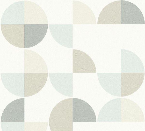 Vliestapete Retro Grafik Kreise weiß pastell mint
