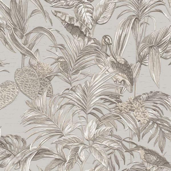 Design Vliestapete Palmen Kranich Stickoptik beige grau
