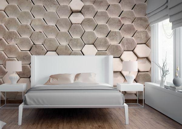 Fototapete Digitaldruck 3d Hexagon Muster kieselgrau 255 x 350 cm