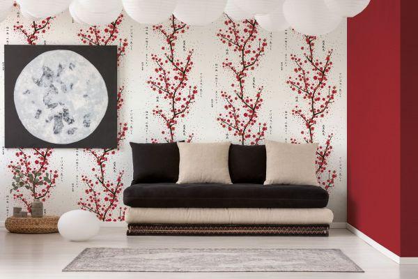 Vliestapete japanischer Kirschblüten Baum weiß rot