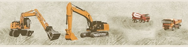 Tapeten Bordüre Baustelle Bagger Kran beige orange