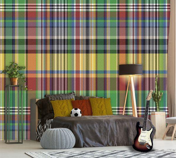 Vlies Fototapete Karo kariert bunt Textil Optik Wandbild 200 x 300cm