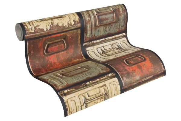 Prägetapete Stahlkisten Metall Schubkästen Vintage