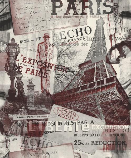 Vliestapete Stadtmotiv Paris Eifelturm bordeaux rot grau 2101