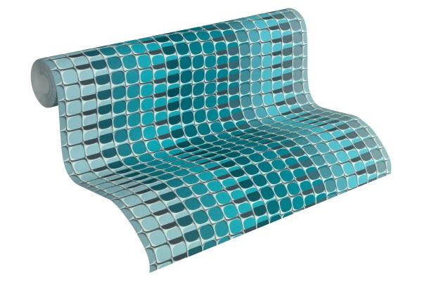 Vliestapete Retro Mosaik Streifen blau türkis by Mac Stopa