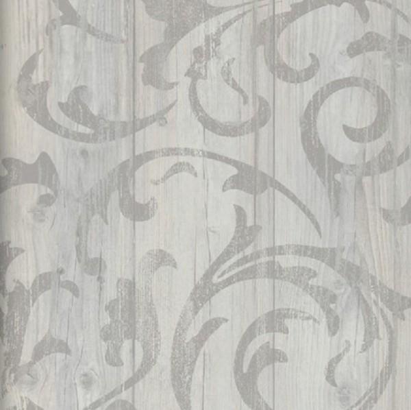 Vlies Tapete Antik Holz rustikal Ornament Barock hell grau