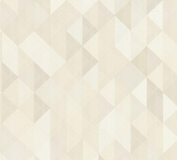 Vliestapete geometrische Dreiecke beige braun