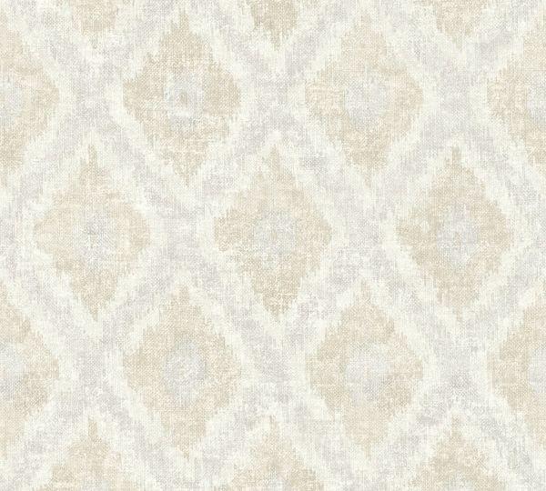 Vliestapete Ethno Muster Rauten grau beige