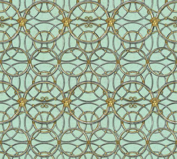 Tapete grafische Kreise Medusa grün gold metallic Versace