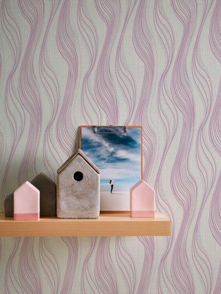 Vliestapete Struktur Linien weiß rose metallic