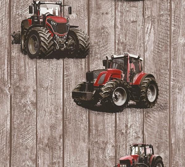 Kinder Vliestapete Traktor Trecker Holz Muster braun rot