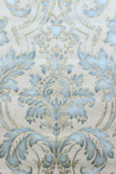 Hochwertige Vliestapete Barock Ornament creme blau