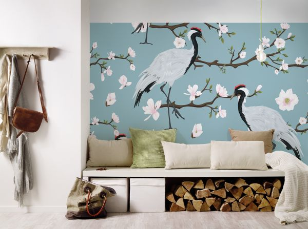 Fototapete Digitaldruck Japan Kraniche Kirschblüten 255 x 350 cm