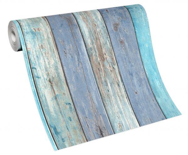 Vliestapete Holz türkis blau verwittert