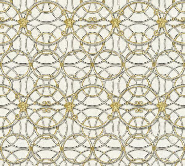 Tapete grafische Kreise Medusa grau gold silber metallic Versace