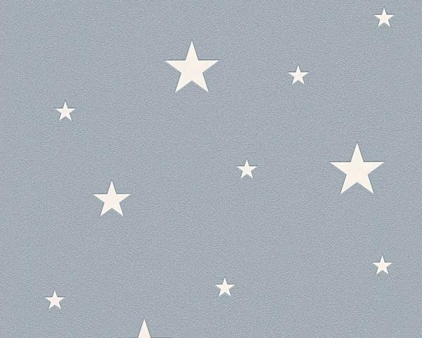 Vlies Leuchttapete Sterne grau blau