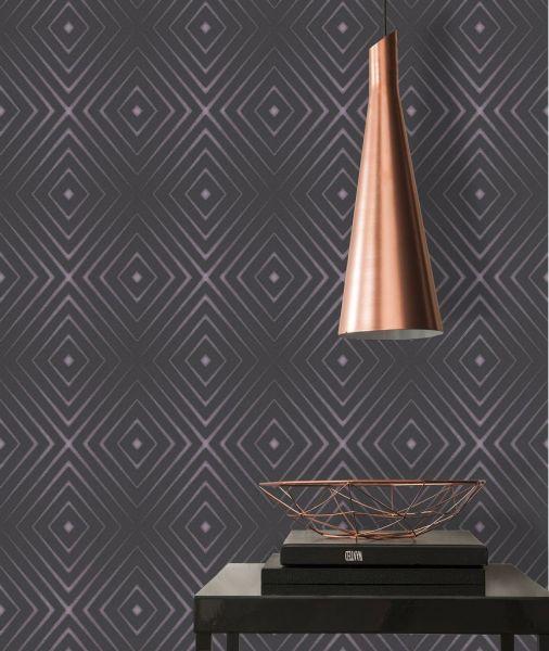 Vliestapete geometrische Rauten schwarz violett metallic