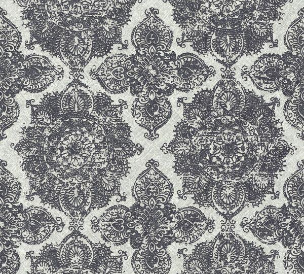 Boheme Ornament Vlies Tapete schwarz grau