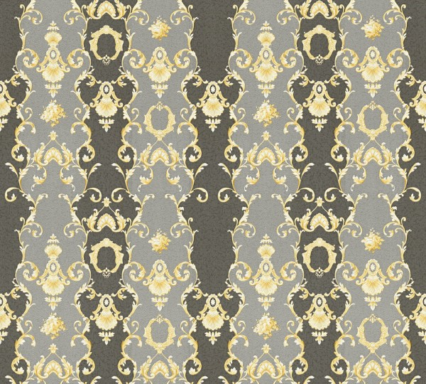 Vliestapete Ranken Barock schwarz gold glanz Chateau 5