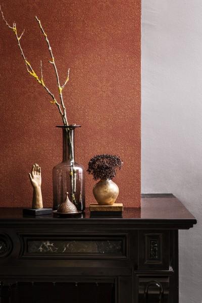 Vliestapete Mandala Muster rot terra gold