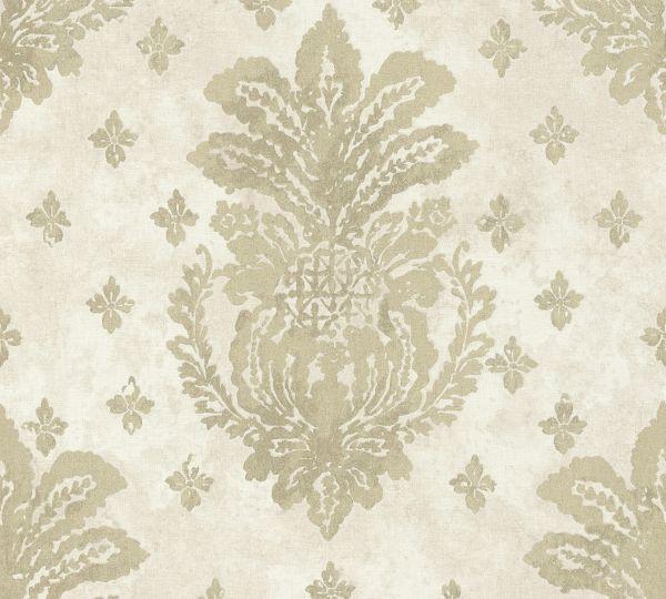 Vliestapete Boho Floral Ornament creme beige metallic