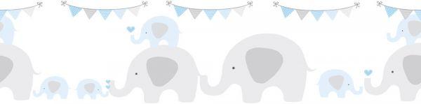 Selbstklebende Bordüre Elefanten Party grau blau 5,00m x 0,155m